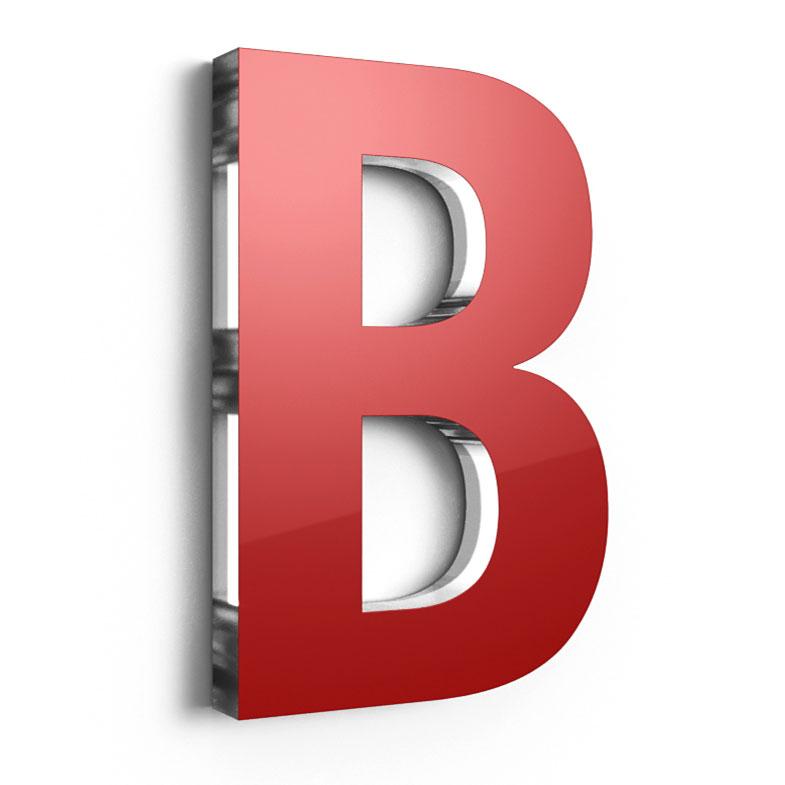 D Buchstaben aus mm Acrylglas front mit Folie beklebt
